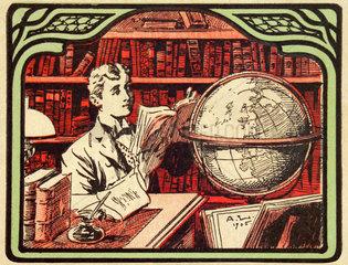 Mann beim Lesen  Symbol Wissen