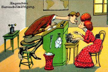 Karikatur  Liebe im Buero  um 1911