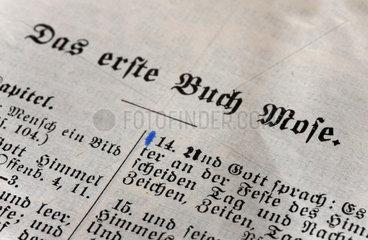 Berlin  Deutschland  Detail einer Bibelseite mit dem ersten Buch Mose