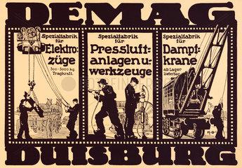 Werbung der Maschinenbaufirma DEMAG Duisburg  1916