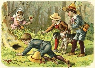 Kinder beim Spielen im Wald  um 1900
