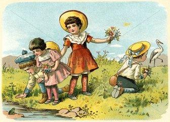 Kinder beim Blumenpfluecken  um 1900