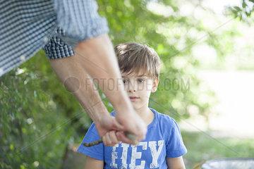Boy watching father break stick