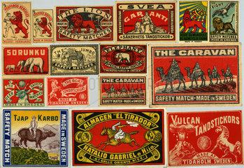 Sammlung alter schwedischer Streichholzetiketten  1900-1950
