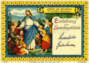 Einladung zur Sonntagsschule  religioese Erziehung  1923