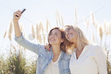 Couple capturing moment with selfie