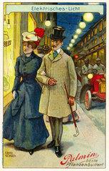 Paar beim Abendbummel  um 1907