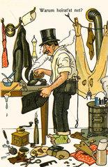 Junggeselle  Karikatur  1914