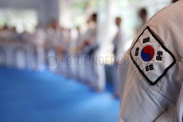Berlin  Deutschland  Nationalfahne von Suedkorea am Aermel eines Taekwondo-Anzugs