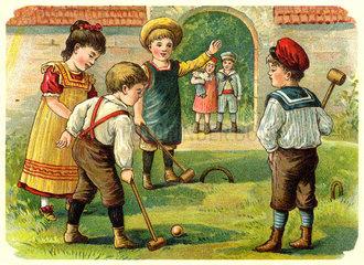 Kinder beim Hockey spielen  um 1900