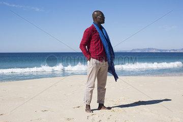 Man standing alone on beach