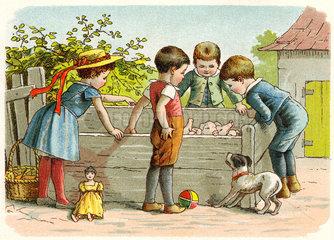Kinder auf dem Bauernhof  um 1900