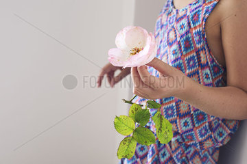 Girl holding rose  cropped
