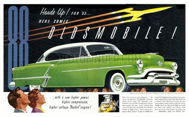 Werbung fuer US Strassenkreuzer 1953