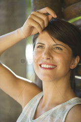 Woman looking up dreamily  portrait