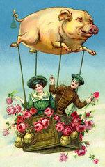 glueckliches Brautpaar  Ballonfahrt  um 1910