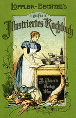 Frau am Herd  Kochbuch  um 1900