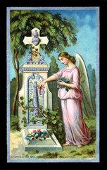 Engel am Grab  franzoesischer Totenzettel  1904