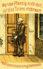 Sprichwoerter auf Spardose  um 1908