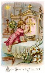 kitschiger Gebetszettel fuer Erstkommunionkinder  1925