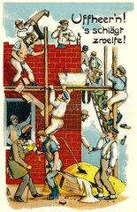 Mittagspause auf dem Bau  Humor 1920