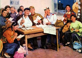 Chinesen beim politischen Unterricht  1975