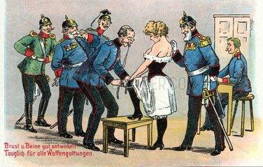 Frau bei der Musterung  Humor 1908