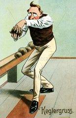 Mann beim Kegeln  1913