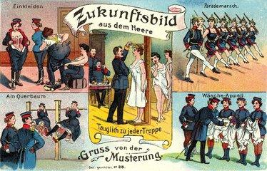 Frauen bei der Musterung  Humor 1912