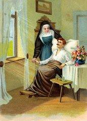 Ordensschwester bei Krankenpflege  1904