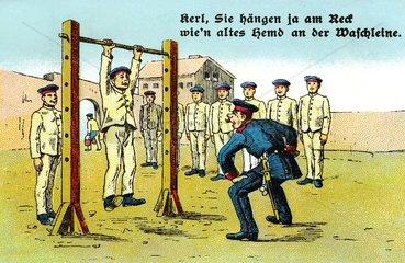 Drill auf dem Kasernenhof  Karikatur 1914