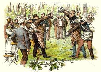 schlagende Studenten bei der Mensur  1898