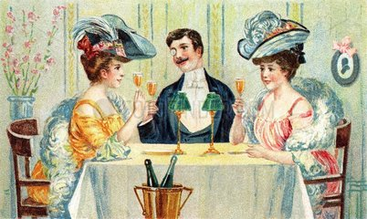 Mann amuesiert sich mit zwei Frauen  1919