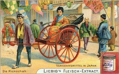 Rikscha in Japan  um 1900