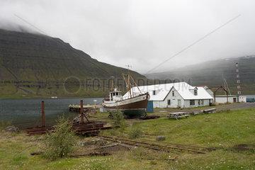 Boat drydocked in fishing village  Iceland