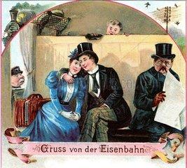 Liebespaar  Gruss von der Eisenbahn 1898
