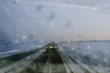 Iceland  road from Keflavik airport to Reykjavik viewed through windshield
