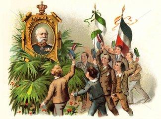 Studenten feiern den saechsischen Koenig  1898