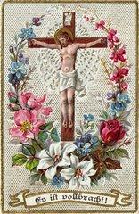 Jesus am Kreuz  Heiligenbildchen 1902