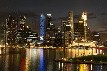 Singapore  waterfront skyline viewed from esplanade at night