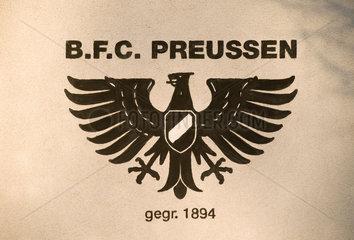 Berlin  Deutschland  Schriftzug und Logo des BFC Preussen