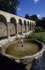 France  Brittany  Northern Finist?re  Daoulas  Abbey  Cloister  Fountain