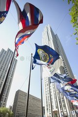 U.S. state flags on display  New York City  New York  USA