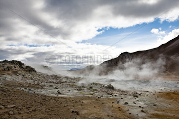 Iceland  Namafjall  fumaroles and mudpots releasing steam and sulfur gas
