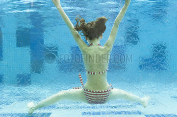 Girl swimming underwater in swimming pool  rear view