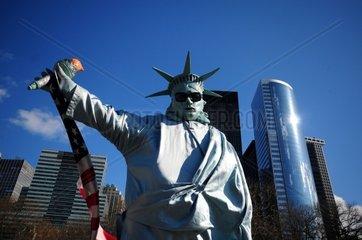 USA  New York City  man dressed as the Statue of Liberty