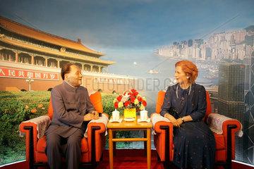Shenzhen  China  Wachsfiguren von Deng Xiaoping und Margret Thatcher