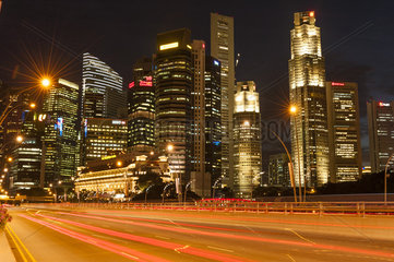 Night scene at financial district in Singapore