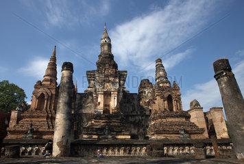 Sukhothai  Thailand  Ruinen des Tempel Wat Mahathat im Geschichtspark Sukhothai