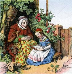 Enkelin betet gemeinsam mit Grossmutter  1860